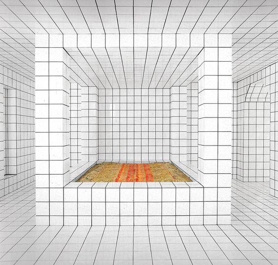 """Le grand lit à baldaquin du """"home sweet home"""" devient chez Jean-Pierre Raynaud LA déclinaison d'un dé-quadrillage qui ®-POSE la question du point de vue..."""