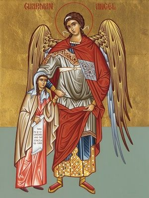 Eastern Orthodox Christian Icon of Guardian Angel with young girl.