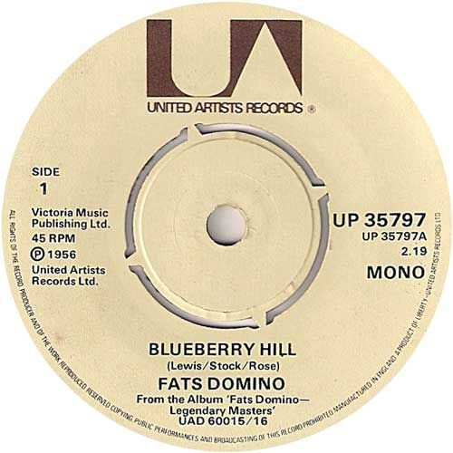 Fats Domino Blueberry Hill 7 Vinyl 45rpm Ex Condition Vinyl Music Torch Song Classic Rock And Roll