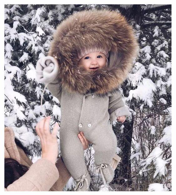 Kış Bebek Büyük Kürk Yaka Sıcak Tulum Bebek Kapüşonlu Örgü Romper - Hobby_Amosting