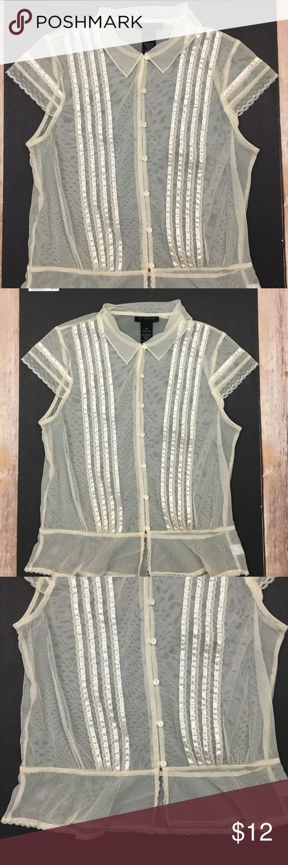 """The Limited Sheer Lace Top The Limited Sheer Lace Top. Button front,lace detail and cap style sleeves. Pit to pit  approx.19.5"""" Length approx. 22"""" The Limited Tops Blouses"""