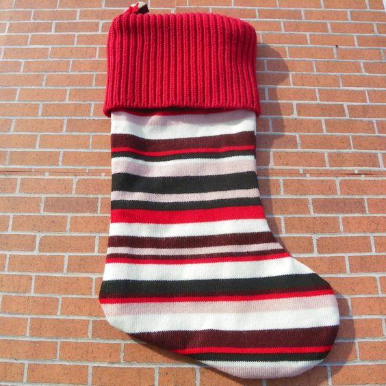 New to KatesHandiwork on Etsy: Sweater Christmas Stocking Holiday Stocking Santa stocking XMAS stocking upcycled sweater stocking holiday decor recycled stocking (25.00 USD)