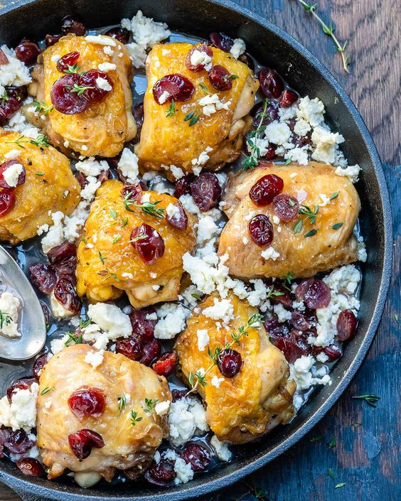 One Pan Cranberry Roasted Chicken Skillet