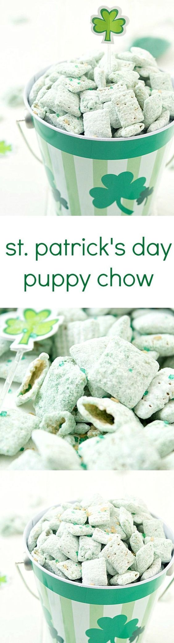 St. Patrick's Day Puppy Chow Recipe via Gal on a Mission - The perfect green and minty snack! Beware, it's highly addictive and you will not be able to stop! #easystpatricksdaydesserts #stpatricksday #stpatricksdayparty #stpatricksdaypartyfood #lucky #luckygreen #luckytreats #shamrocks #clovers #rainbowtreats #leprechantreats