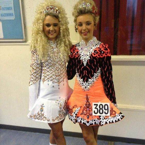 """Two very different 3 panel skirts. I love them both equally #irishdancingdress #irishdance #traditional"""