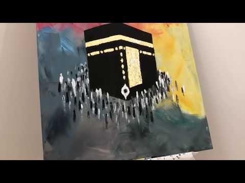 رسم الكعبة المشرفة باستخدام الوان الاكريليك ورق الذهب Youtube Artist Painting Art