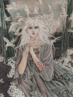 Flash Fiction 'An Ancient Curse' by Laura Libricz. 'The White Witch' Illustration by Ian Daniels