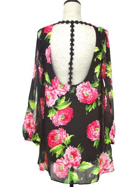 Floral Frenzy Open Back Dress - Black