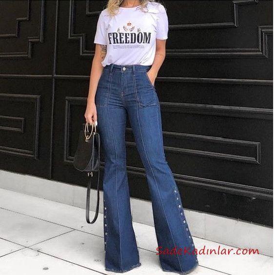 2019 Ispanyol Paca Pantolon Kombinleri Lacivert Ispanyol Pantolon Beyaz Kisa Kollu Tisort Ispanyol Paca Pantolon Gunluk Tarzlar