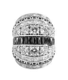 Henri Bendel Tuxedo Gladiator Ring