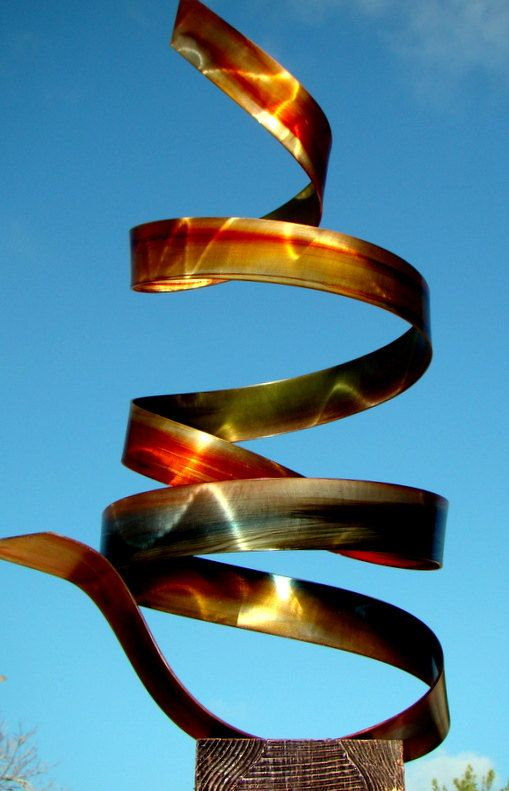 Modern Outdoor Contemporary Abstract Metal Sculpture / Amber Twist