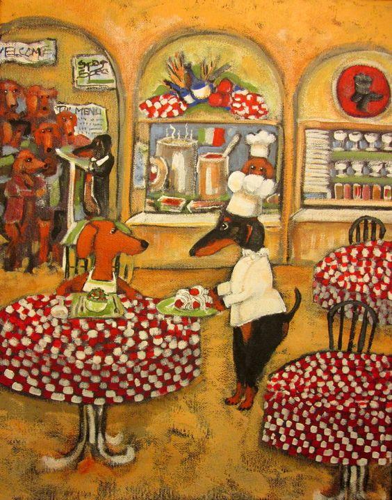 Dachshund themed Italian bistro print artwork from Ellen Haasen!  Love it!