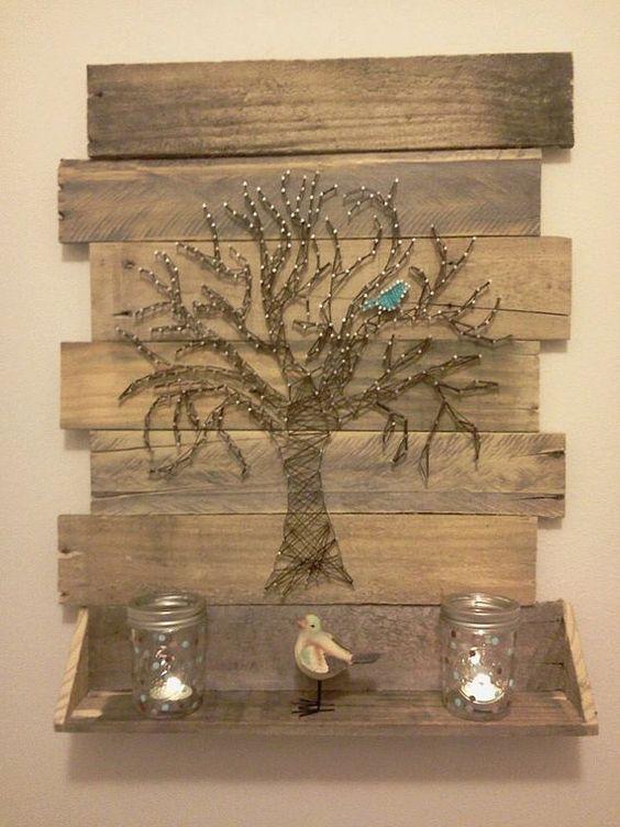 Tree String Art with Blue Bird
