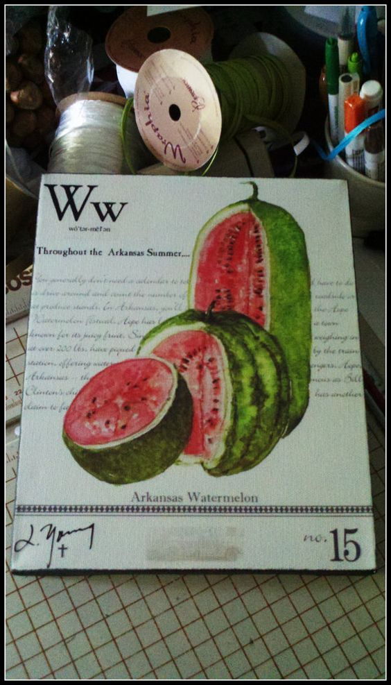 Arkansas Watermelon on Canvas  8x10 by lyoungstudio on Etsy, $46.00
