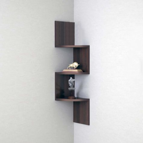 Wood World Home Decor Wall Shelf Zigzag Corner Wall Mount Shelf Unit Brown 3 Shelves Corner Wall Wall Shelves Wall Mounted Shelves