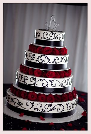 Wedding Cake Idea......absolutly love this cake and it matches out weeding colors red, black and white.