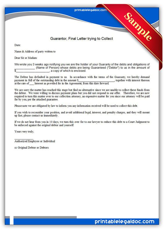 Free Printable Guarantor, Final Letter Trying To Collect Sample - final notice letter