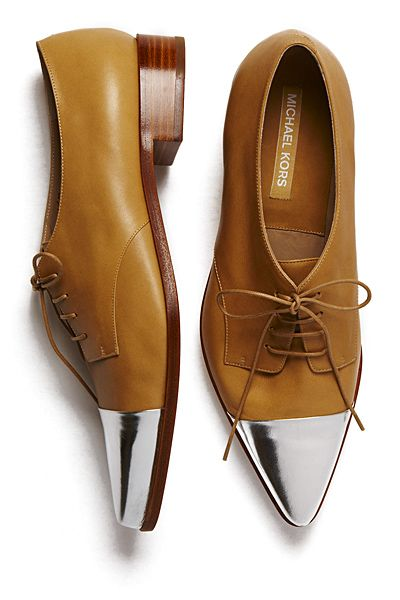 Michael Kors - Great combo: Leather, tan, patent, silver, points #shoes