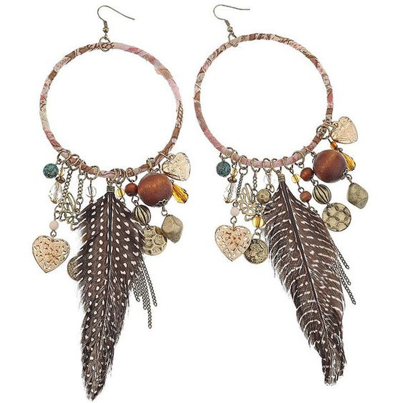 Hoop Charm Earrings ($32) ❤ liked on Polyvore featuring jewelry, earrings, accessories, kolczyki, women, plastic charms, feather jewelry, charm earrings, feather charm and earring charms