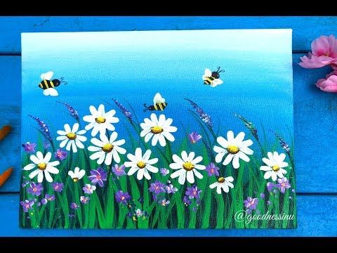 Quick Easy Daisy Flower Garden Painting For Beginners Step By Step Youtube Daisy Painting Flower Painting Garden Painting