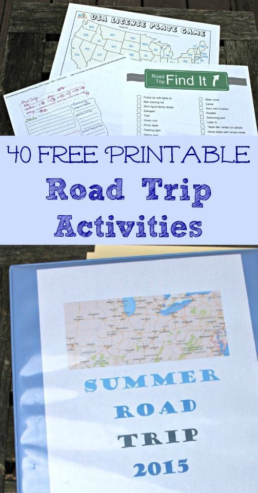 Lots of free printable games & activities + details on putting together a Road Trip binder for the kids!