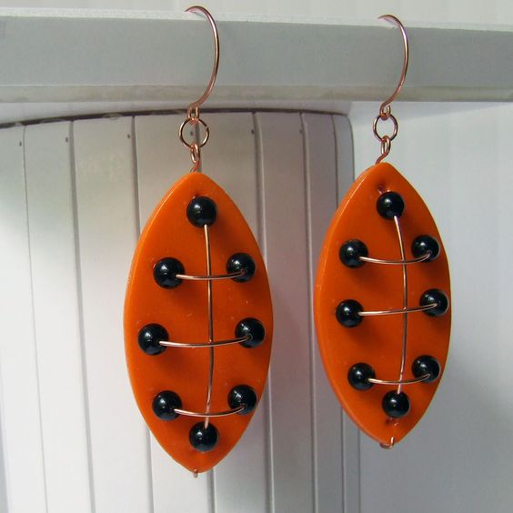 Modern Polymer, Copper, Obsidian Earrings Inspired By.... $25.00, via Etsy.