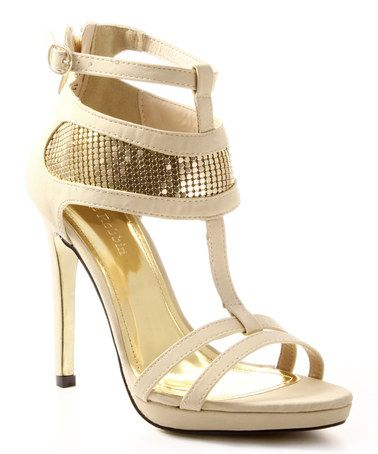 Look what I found on #zulily! Beige & Gold Sparkle Rayna T-Strap Sandal by Cape Robbin Collection #zulilyfinds