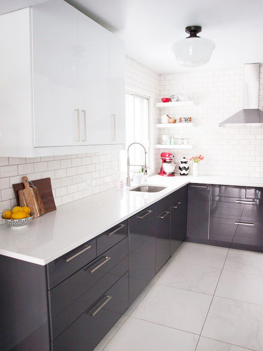 Grey cabinets and tile on pinterest for Kitchen cabinets montreal