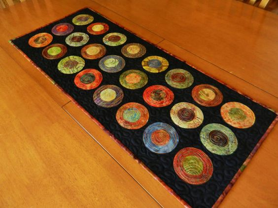 Modern Table Runner Batik Circle Table Runner by LyndiArt.  Could be hooked or wool appliqued.