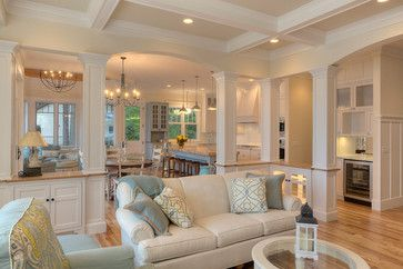 Classic Cottage - beach-style - BM White Dove, trim & cabinets, SW Antique White, walls SW Dover White, coffered ceiling