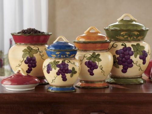 #84001,Tuscany Colorful Grapes 4pc Canister Kitchen Decor Set By ACK  15.10.15.8 | Kitchen Decor, Tuscany And Canister Sets