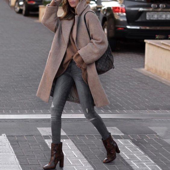 Fashion Lapel Plain Loose Keep Warm Woolen Long Coat - zoyne.com
