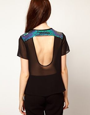 Enlarge Lashes Of London Backless T Shirt in Mermaid Sequin