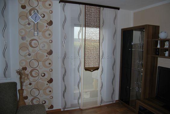 Wohnzimmer Schiebevorhang in weiß-braun mit mittigem Netz -   - gardinen modern wohnzimmer braun
