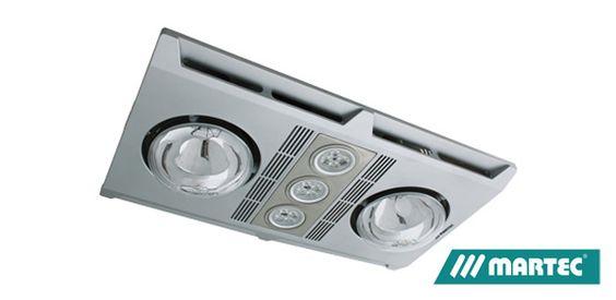 Martec 3 In 1 Bathroom Heater Amp Exhaust Fan Silver 3 X Led