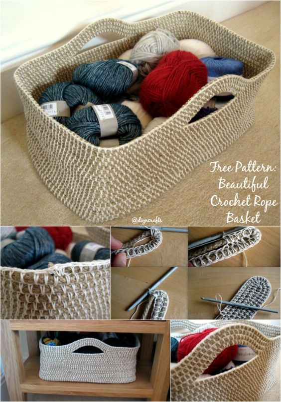 Crochet Rope Basket Free Pattern : Beautiful, Toys and Craft supplies on Pinterest