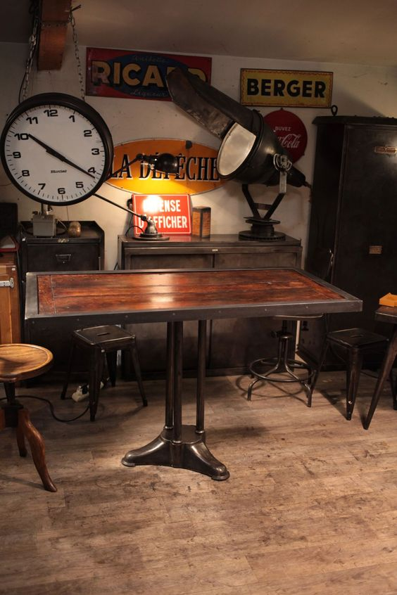 Table industrielle deco loft vintage industrial agricultural pinter - Idee deco industrielle ...
