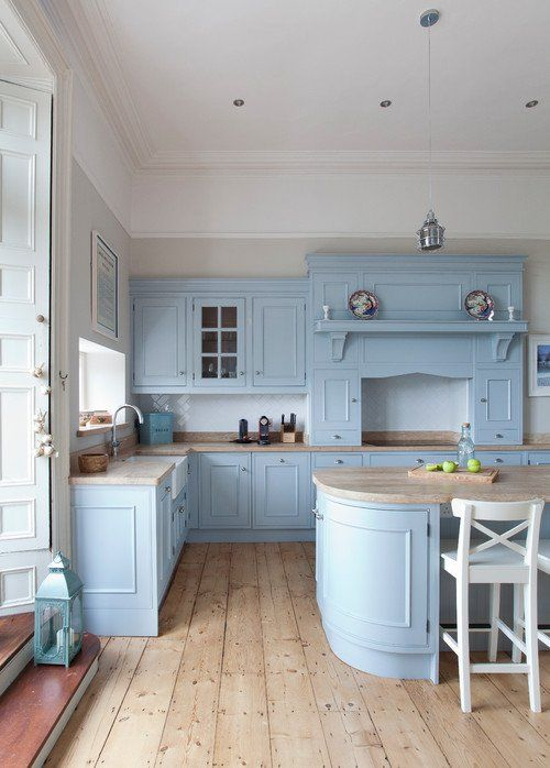Handcrafted Kitchen In Powder Blue And Wood Town Country Living Country Style Kitchen Blue Kitchen Cabinets Interior Design Kitchen