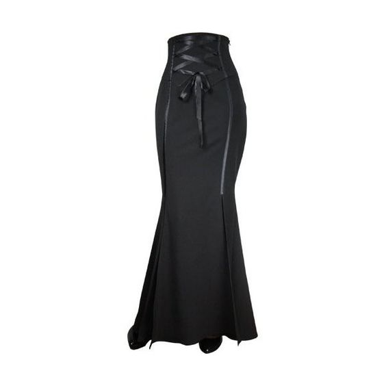 Long Black Corseted Fishtail Mermaid Gothic Skirt (72 CAD) ❤ liked on Polyvore featuring skirts, skirt's, long black gothic skirt, black flared skirt, long maxi skirts, long skirts and flared skirt