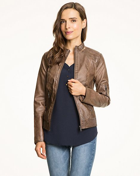 Le Château: Leather-Like Moto Jacket