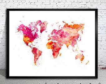 WATERCOLOR MAP - World Map. Watercolor Painting. Watercolor poster. Handmade poster.