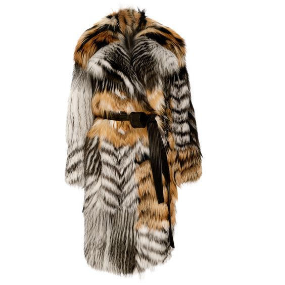Jason Wu Patched Fox Fur Coat (€77.350) ❤ liked on Polyvore featuring outerwear, coats, jason wu, tie belt, brown coat, oversized coat and fox fur coat