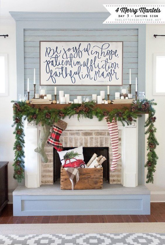 Christmas Mantles Fireplaces And Wood Mantle On Pinterest