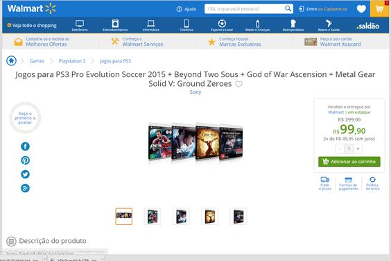 [WalmartMOB] PES2015 + Beyond Two Sous + GOW Ascension + MG Solid V: Ground R$ 99,90