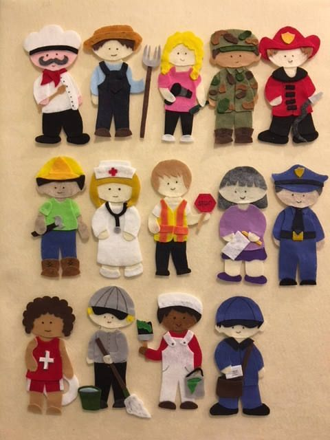 Community Helpers Felt Board Policeman Fireman Chef Soldier Nurse Hair Sylist And 8 Others Pdf Pattern Only Felt Board Felt Toys Community Helpers