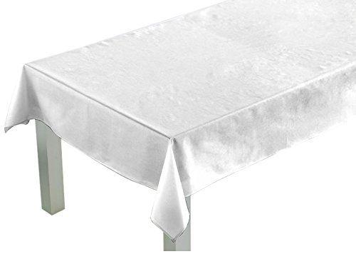 Comptoir du Linge csi09007Tischdecke QUADRATISCH Stoff/Polyester/Baumwolle/Teflon 180x 180x 0,5cm, weiß, 180 x 180 x 0,5cm