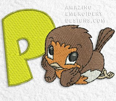 Free embroidery design letter p and an owl i sew free