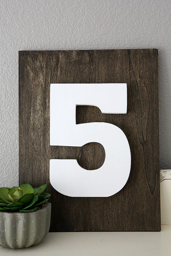 DIY Home Decorating Ideas | Family Number sign. So easy to make and looks great in your house!