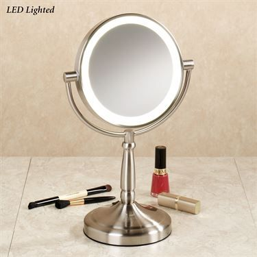cordless led lighted 10x magnifying vanity mirror. Black Bedroom Furniture Sets. Home Design Ideas