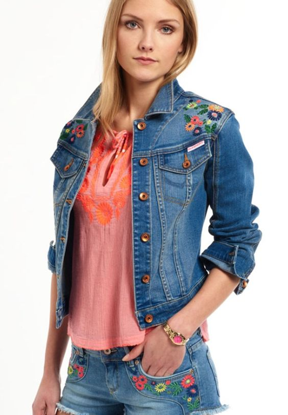 superdry veste en jean surf blue multi prix promo veste en jean femme zalando zalando. Black Bedroom Furniture Sets. Home Design Ideas
